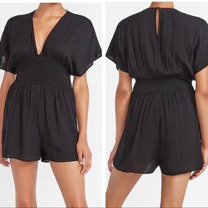 NWT Express Black Smocked Waist Kimono Romper XS